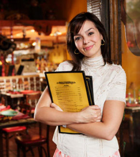 Hostess with iMenuPro Menus in Cafe Covers
