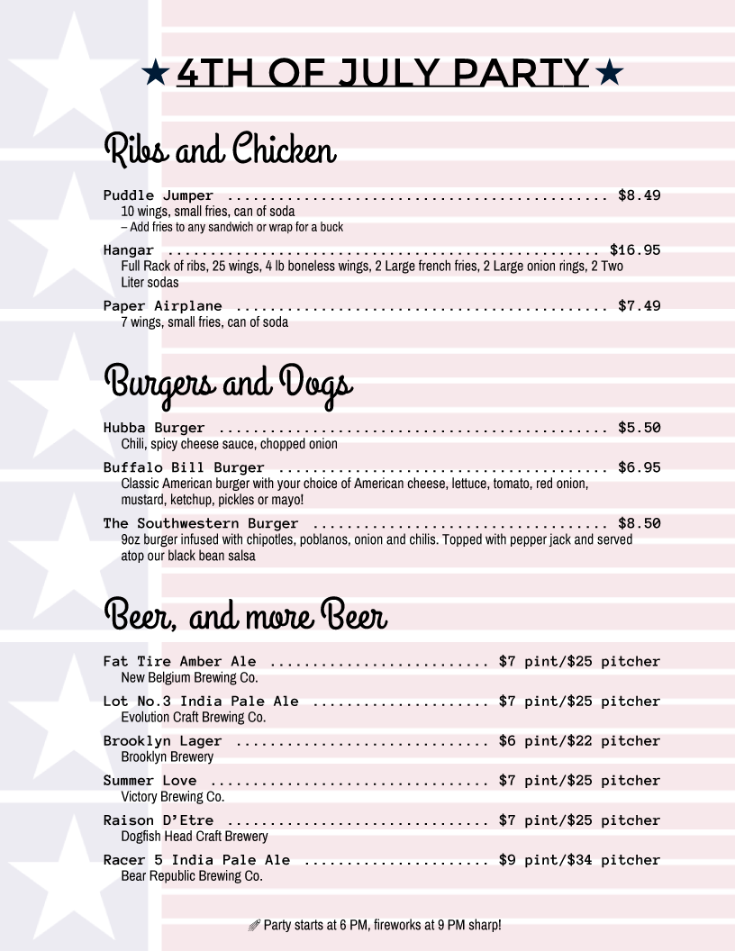 4th of july menu template - holiday menu templates from imenupro more than just