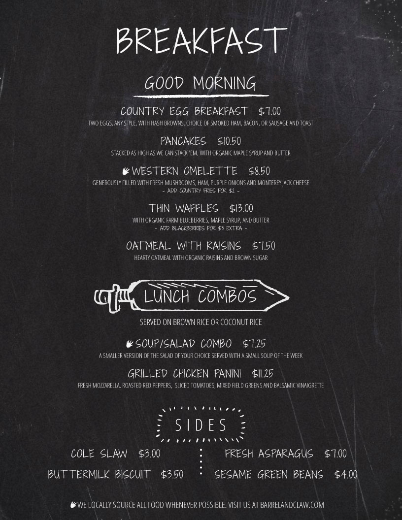 Barrel And Claw  Breakfast Menu Template