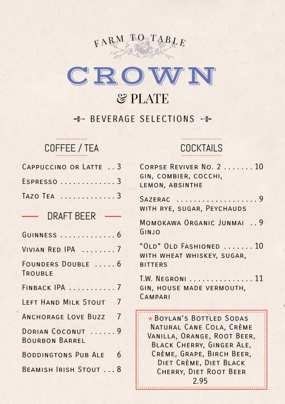 Crown & Plate A5 Beverage Menu