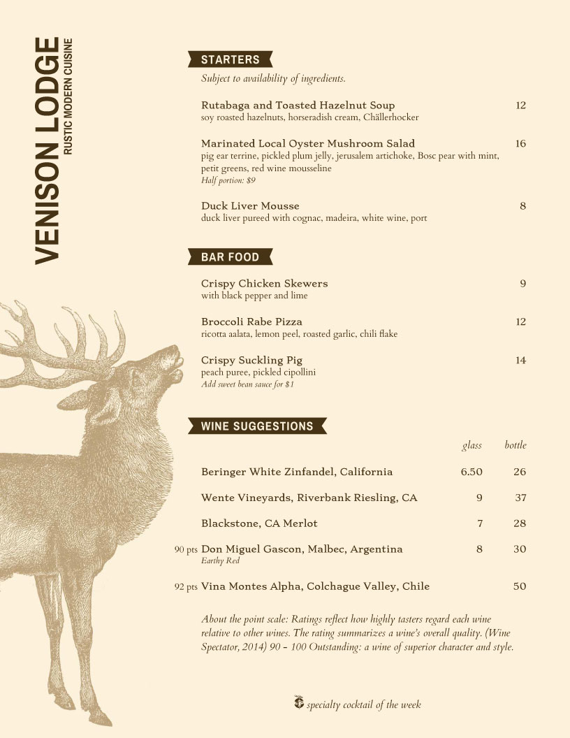 Rustic Lodge menu