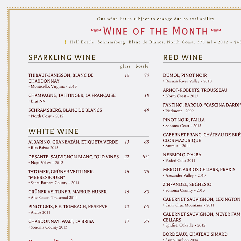 High Quality Wine List Template  Free Wine List Template