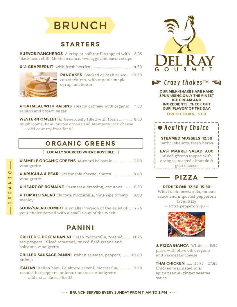 Del Ray Gourmet  Cafe Menu Template Word