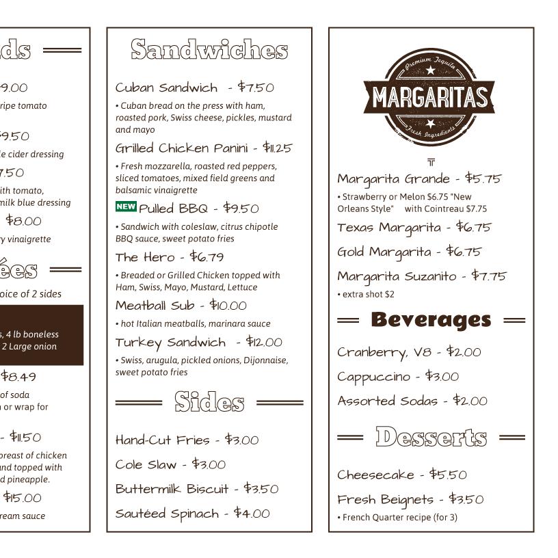 menu paper menu printing from imenupro