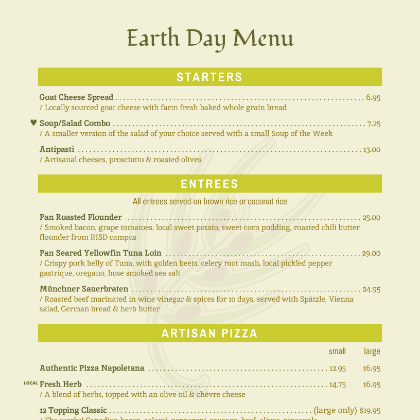 Menu templates imenupro menu example earth day menu yelopaper Image collections