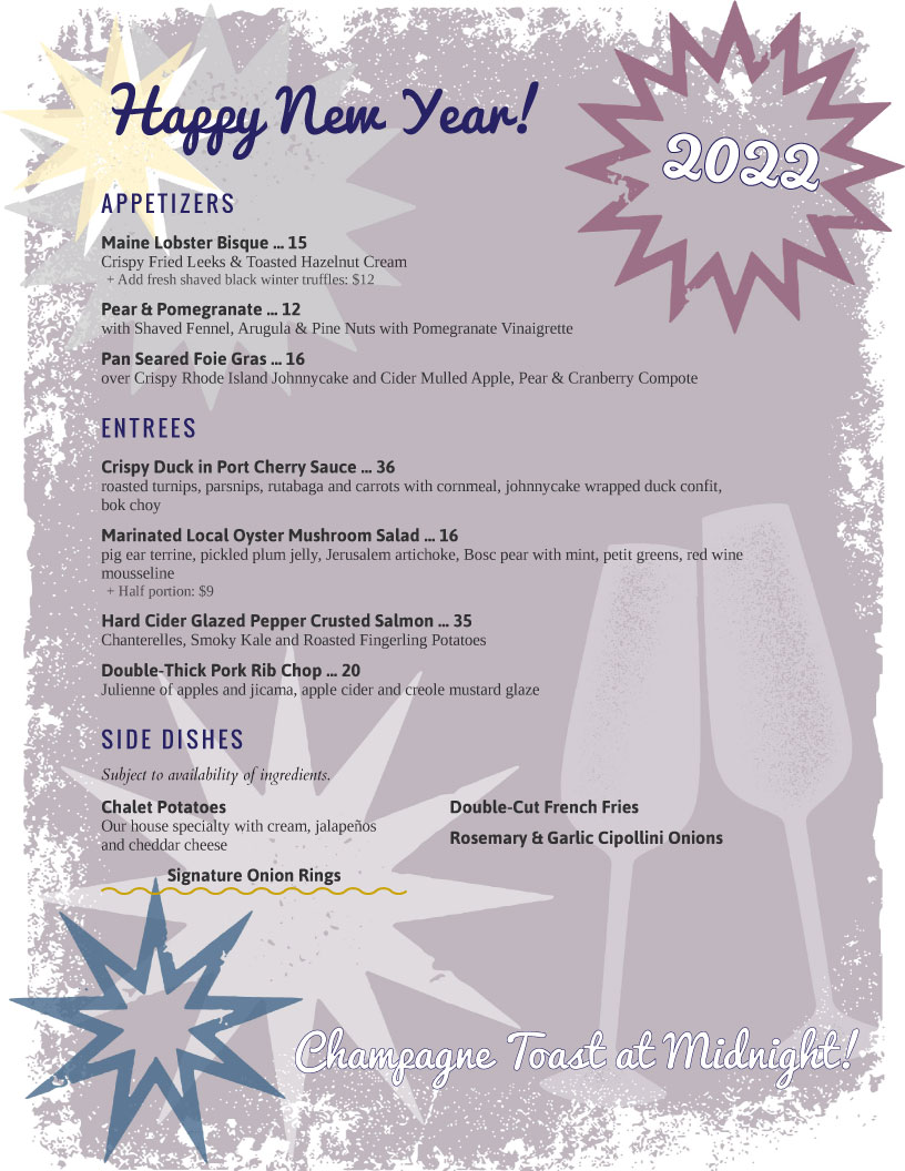 menu example new years eve