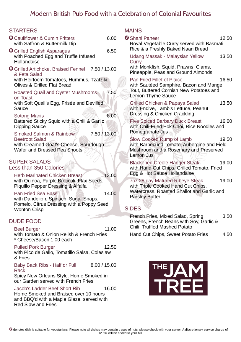 the jam tree menu