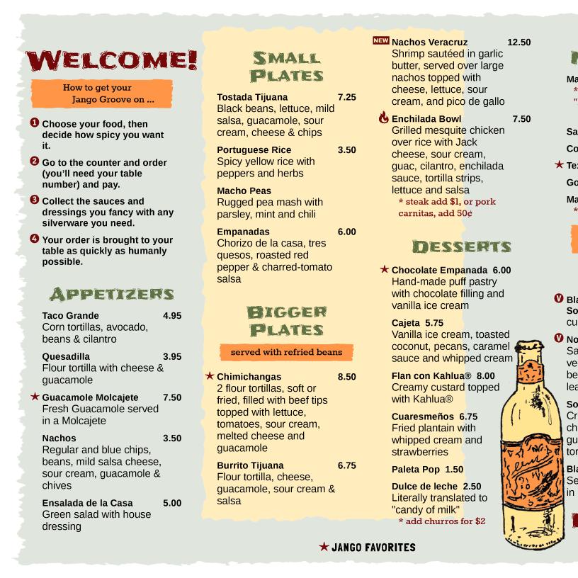 Organic Cafe Menu