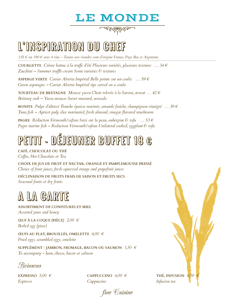 Menu Example  A La Carte Menu Template
