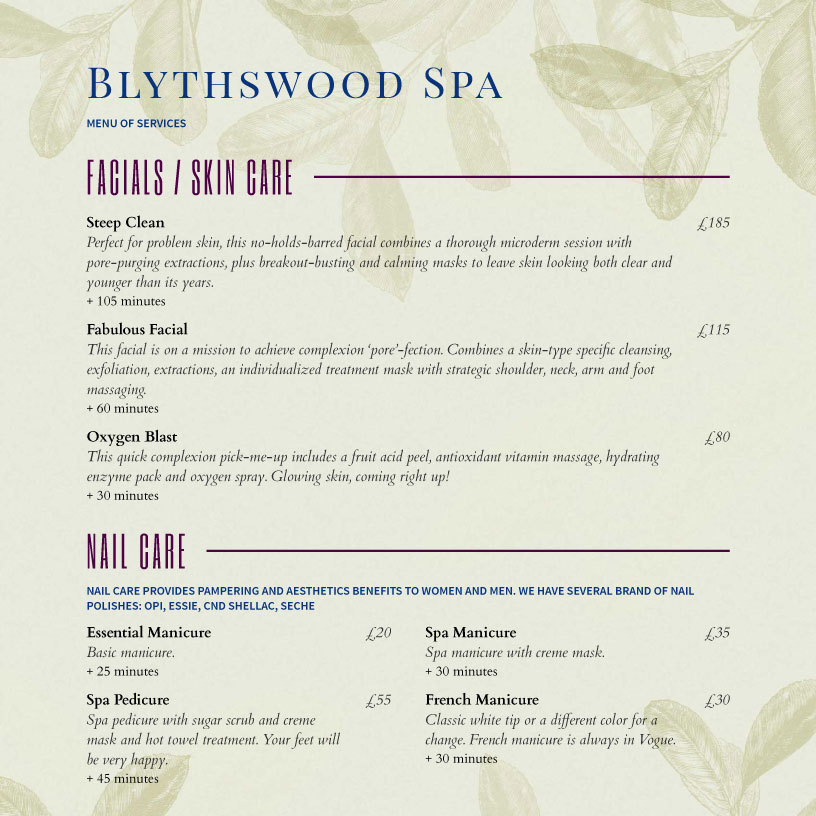 Spa Menu Templates And Designs From Imenupro
