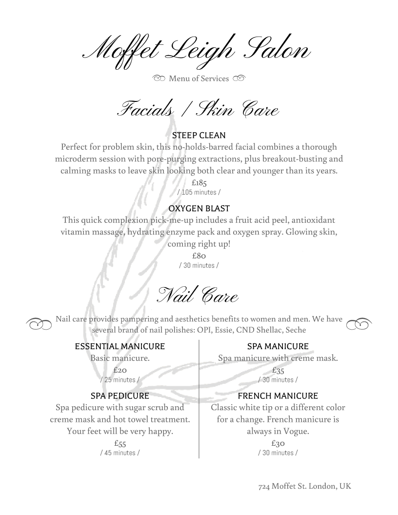 Salon Menu Templates from iMenuPro