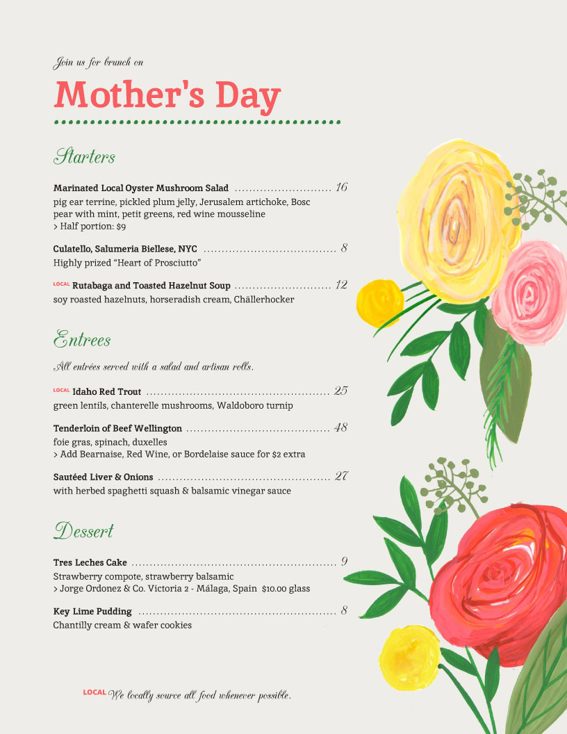 mother s day menu template word koni polycode co