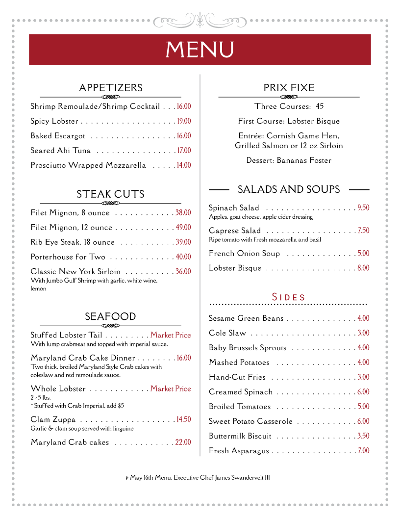 Menu Example  Free Printable Restaurant Menu Template