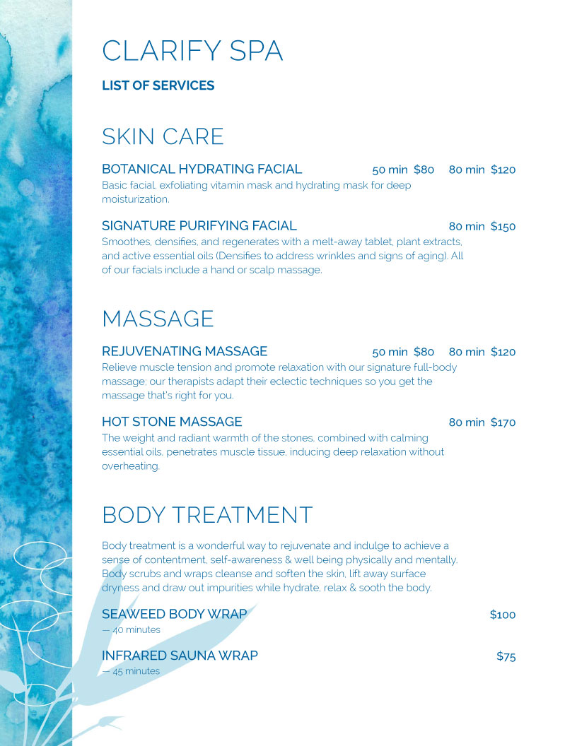 Perfect Menu Example. Spa Blue