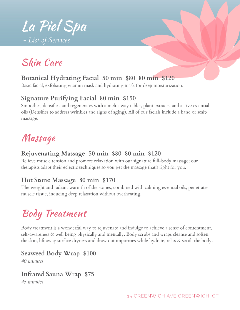 Salon menu templates from imenupro spa lotus maxwellsz