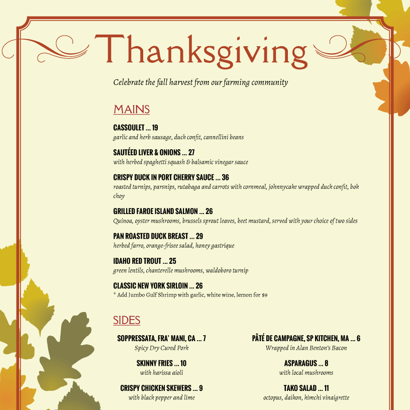 Holiday Menu Template from imenupro.com