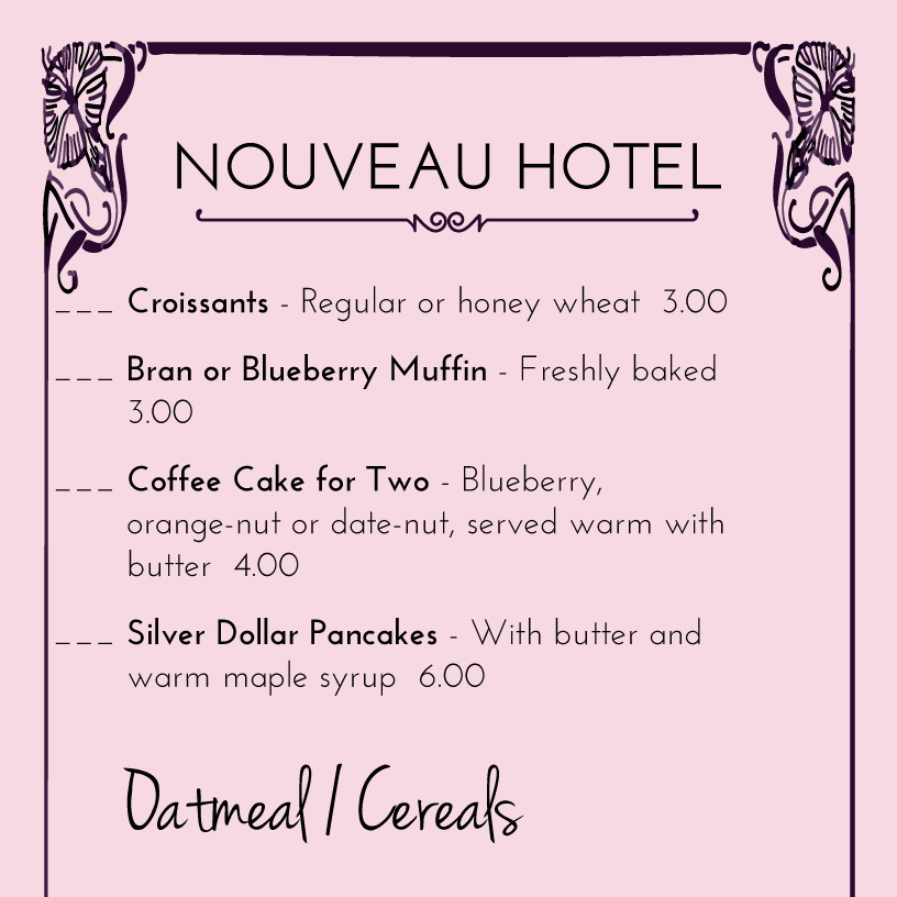 Hotel Menu Designs From Imenupro More Than Just Templates